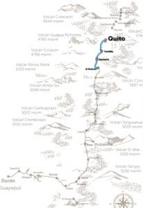 Karte Route Zug der Vulkane Ecuador
