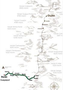 Karte Zugfahrt Costa Sierra Ecuador