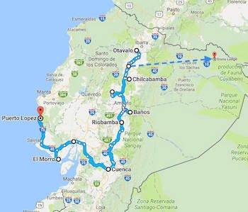 Karte Ecuador Reise